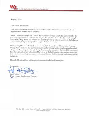 White Leasure Letter of Recommendation - Rite Aid & Freddy's Steakburger
