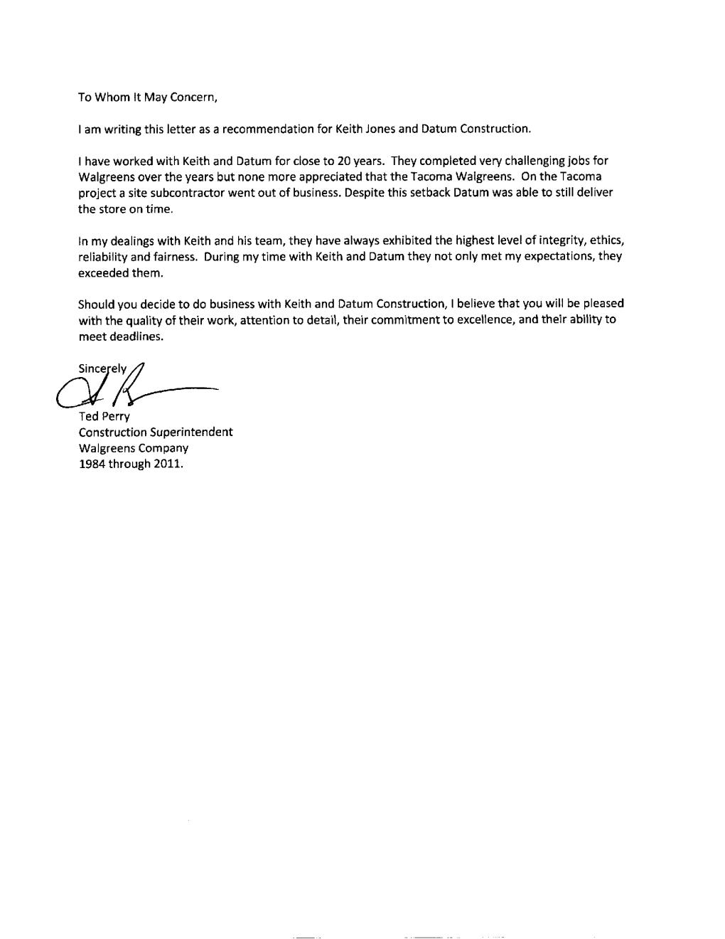 Letter Of Recommendation From Walgreens Datum