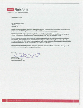 Hawkins Companies - RE: Linder Walgreens