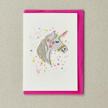 Unicorn Iron On Patch Card