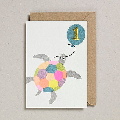 Confetti Turtle With Embroidered Gold Number