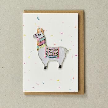 Llama Iron On Patch Card