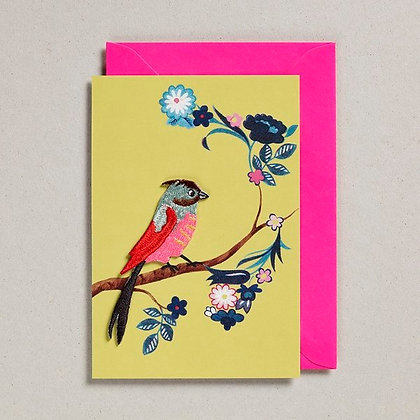 Embroidered Bird Card Yellow