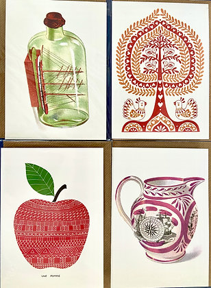 Red & White Pack of 4 Cards