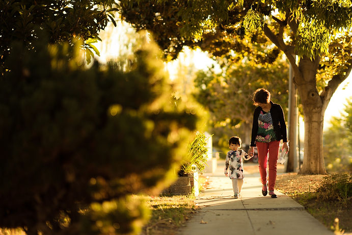 Lady and child walking