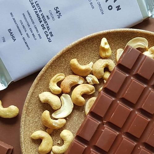 CHOCOLATE  AO LEITE VEGETAL CAJU 54% CACAU 70g