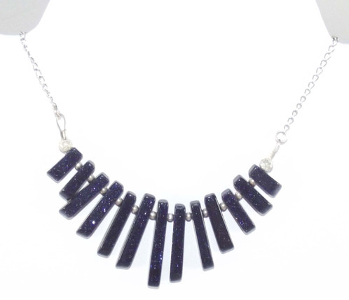 silver sensations goldstone blue navy white p midnight sterling necklace asp sparkly agate
