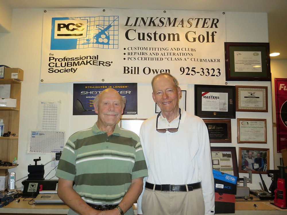 Image of Bill Owen and famed golf writer James Achenbach