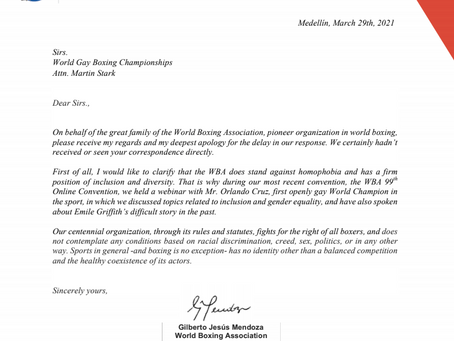 Letter of Support from World Boxing Association