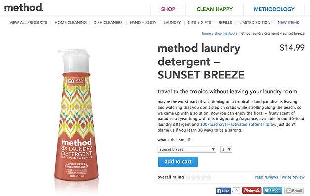 Method laundry detergent product description