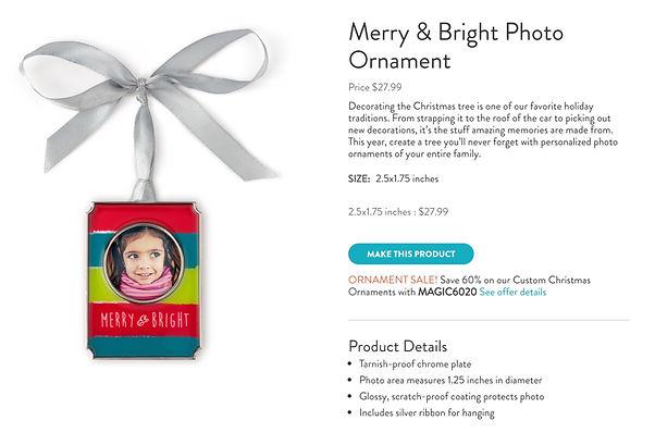 Snapfish ornament product description