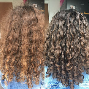Before and after curly cut