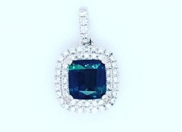 New: 18k White Gold 1.23ct Greenish Blue Sapphire & Diamond Pendant $3090