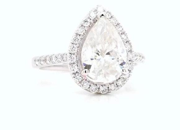 New: 18k White Gold 2.04ct Pear Shaped Moissanite & Diamond Ring Appraised $3120