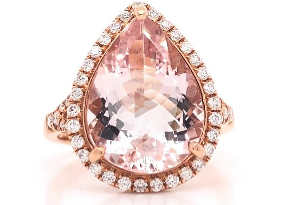 New: 18k Rose Gold 4.47ct Natural Pink Morganite & Diamond Ring Appraised $3530