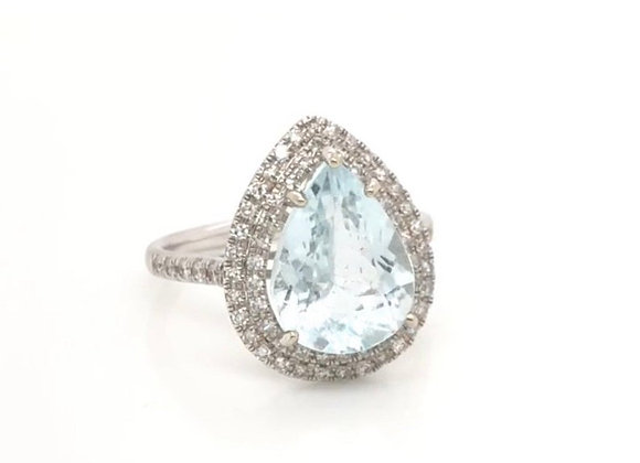 NEW- 14K White Gold 3.2 ct Pear Aquamarine & Diamond Ring Appraised $3120