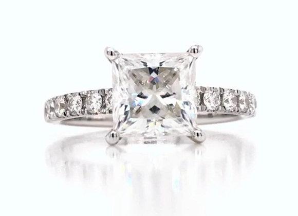 New: 18k White Gold 2.02ct Princess Cut Moissanite & Diamond Ring Appraised 3830