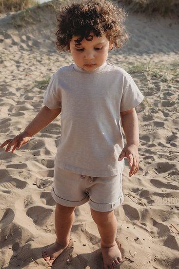 Unisex Organic Essentials Tee and Shorty set - Taupe