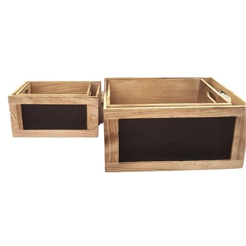 Cajas madera c/pizarra