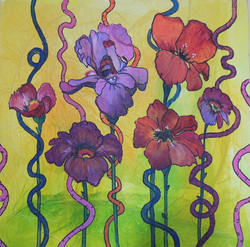 Watercolor and tissue paper floral