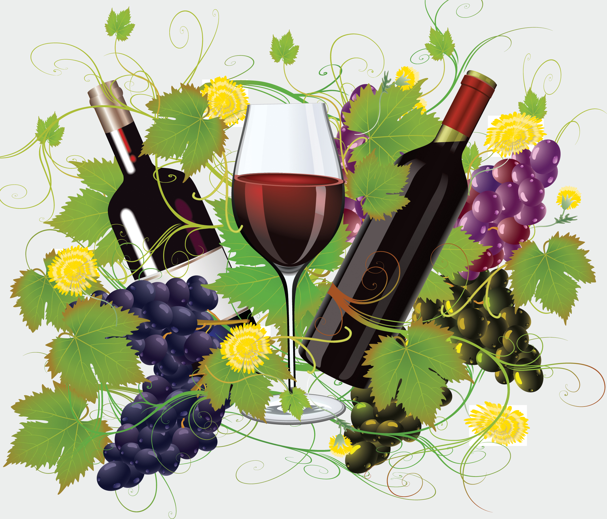 Wine and Grape digital illustration