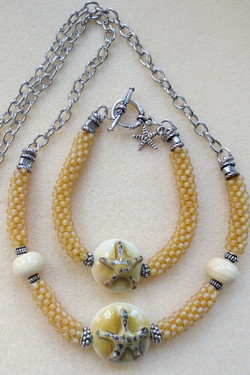 Starfish Lentil with  Seed Bead Kumihimo Necklace and Bracelet Set
