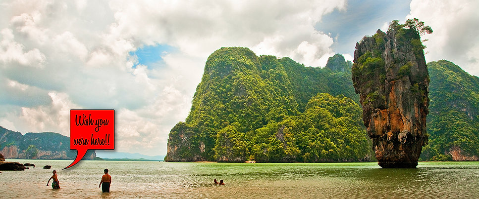 Swimming by James Bond Island in Phuket, Thailand.
