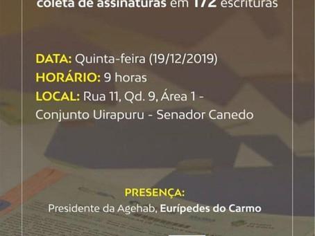 Senador Canedo [Social]: Agehab entrega escrituras a moradores de Senador Canedo.
