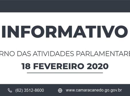 Câmara Municipal de Senador Canedo retorna às atividades parlamentares em 18 de fevereiro