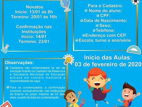 Senador Canedo [Educação]: Inicia-se no dia 13 de janeiro o período de matrículas na rede municipal.