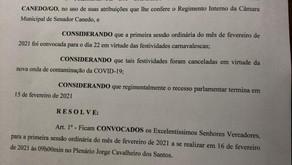 Câmara de Senador Canedo antecipa retorno legislativo