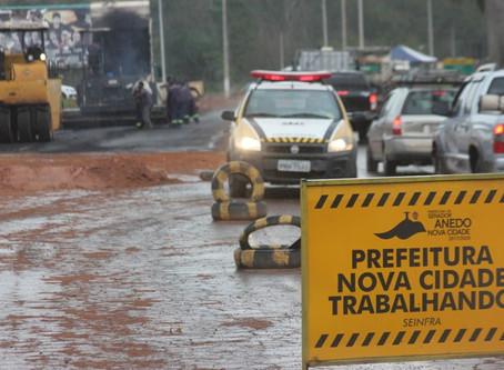 Senador Canedo [Infraestrutura]: Obras do novo acesso avançam com capeamento asfáltico.
