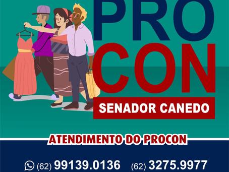 Serviços do Procon de Senador Canedo estão funcionando por agendamento