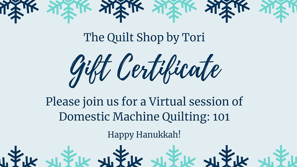 Domestic Quilting 101 (Level 3) Gift Certificate