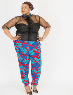 Resort Black Lace and Flower Pant