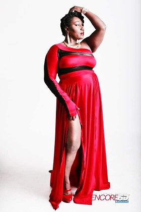 Stretch Jersey Red Gown (Two Piece)