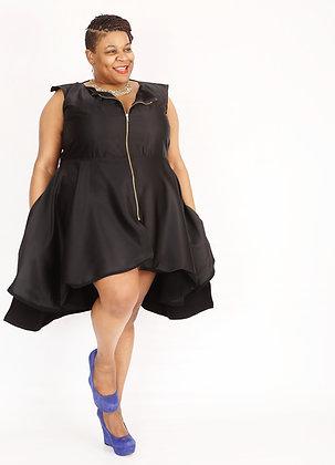 Black Rose Zipper Dress/Moleskin Suede