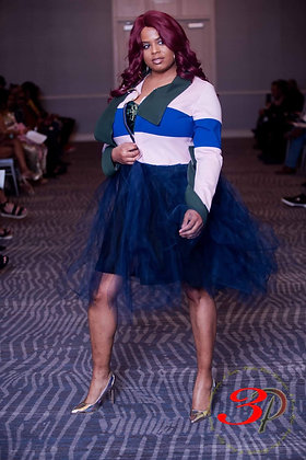Super Stretch Tulle Coat w/ Built in Scarf