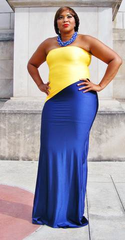 Navy and Yellow maxi