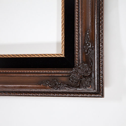 14x24	Brown	& Black Felt	Rectangle 	Ornate	Frame	with a Walnut Finish