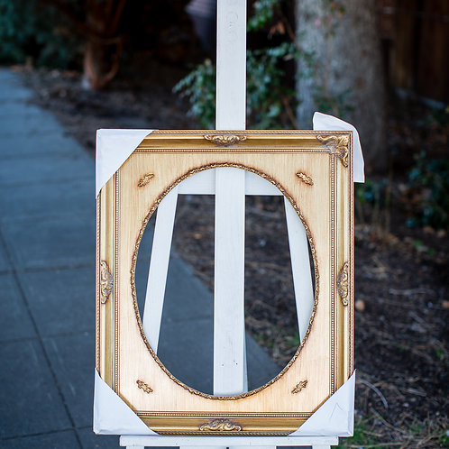 16x20 gold frame with oval inlay