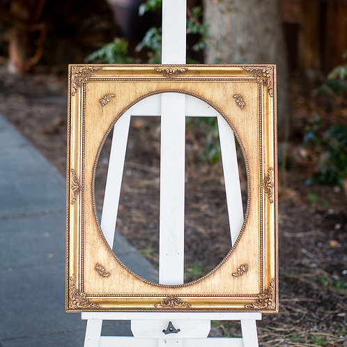16x20 ornate gold frame with oval inlay