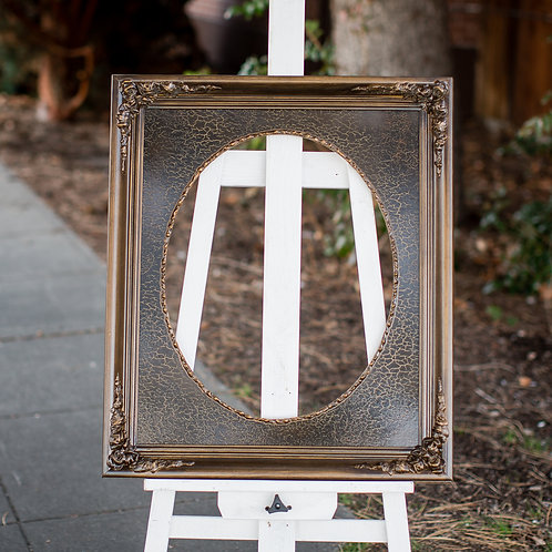 16x24 ornate brown frame with oval inlay