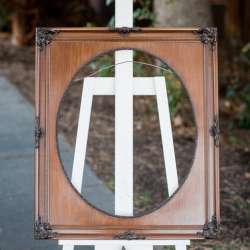 20x24 ornate wood frame with oval inlay