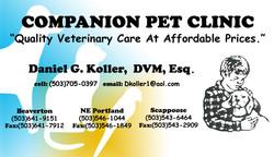 companion pet clinic - business card
