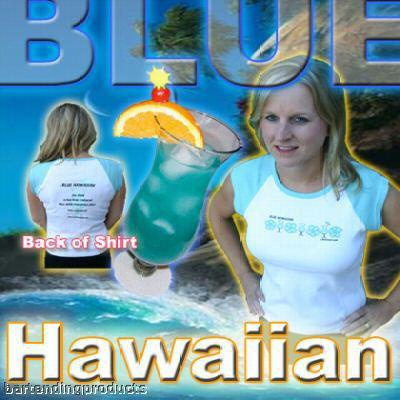 Blue Hawaiian Bar Cocktail Drink Shirt with Recipe