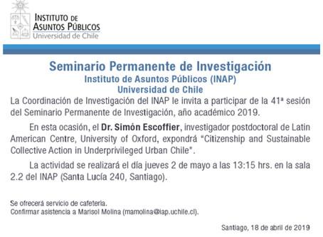 My Seminar Presentation at Universidad de Chile, in Santiago, on 2 May 2019 at 13:15