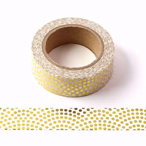 F091- Masking tape métallique 15mm foil motif designpois dorés