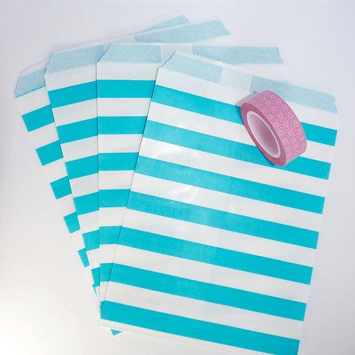 Lot de 12 sachets papiers blanc rayures bleu clair