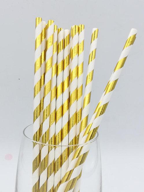 25 pailles papier rayure dorées métalliques